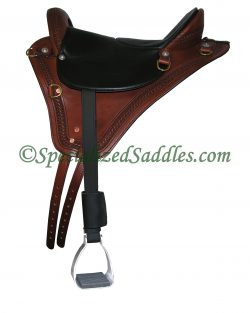 Specialized Saddles Brown Eurolight with Basketweave Edge Tooling, Black Padded Leather Flat Seat, English Rigging, Leathers & Aluminum Trail Stirrups