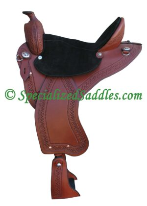 TW Saddlery Brown Trail Light with Black Suede Seat and Southwest Edge Tooling
