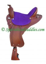 TW Saddlery Brown Trail Light with Purple Suede Seat and Southwest Edge Tooling