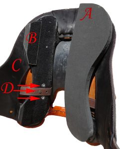 Shown here is the adjustable pad position, shim placement and Stirrup positions which allow for forward, balanced, or centered stirrup position.