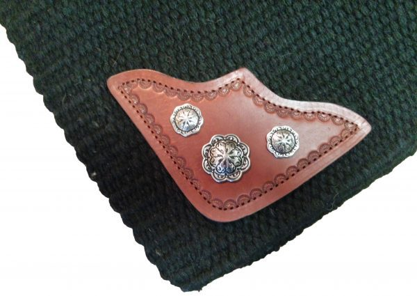 TW Saddlery Black Custom Saddle Pad w/Leather corner & conchos