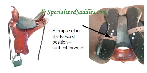 Stirrups set in the forward position - furthest forward