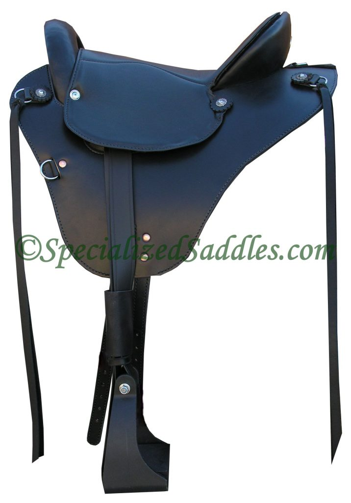 Specialized Saddles Eurolight Black with Black Padded Leather Trail Seat, Leather Strings, Leathers & Black Nylon Stirrups.