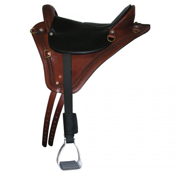 Eurolight Saddle from Specialized Saddles - Brown with Basketweave Edge Tooling, Black Padded Leather Flat Seat, English Rigging, Leathers & Aluminum Trail Stirrups